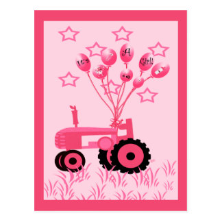 Baby Announcement Pink Tractor with Balloons Postcards