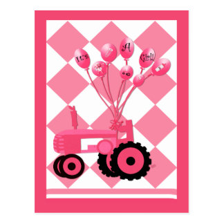 Baby Announcement Pink Tractor with Balloons Postcard