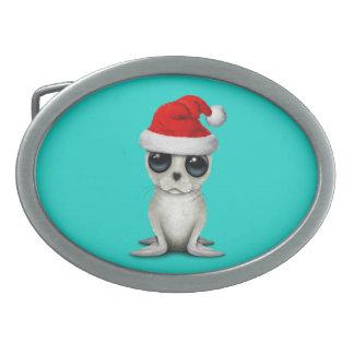 Baby Arctic Seal Wearing a Santa Hat Belt Buckles