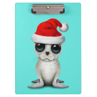 Baby Arctic Seal Wearing a Santa Hat Clipboard