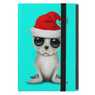 Baby Arctic Seal Wearing a Santa Hat Cover For iPad Mini