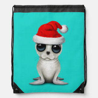 Baby Arctic Seal Wearing a Santa Hat Drawstring Bag