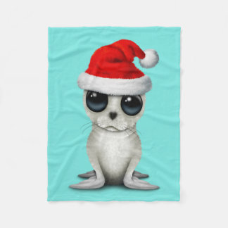 Baby Arctic Seal Wearing a Santa Hat Fleece Blanket