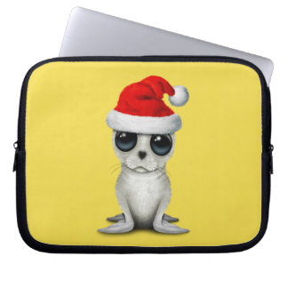 Baby Arctic Seal Wearing a Santa Hat Laptop Sleeve