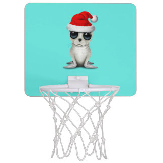 Baby Arctic Seal Wearing a Santa Hat Mini Basketball Hoop