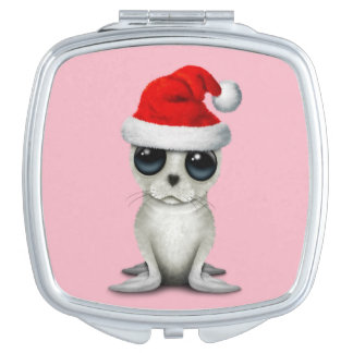 Baby Arctic Seal Wearing a Santa Hat Mirror For Makeup