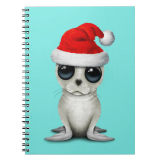 Baby Arctic Seal Wearing a Santa Hat Notebook