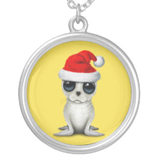 Baby Arctic Seal Wearing a Santa Hat Silver Plated Necklace