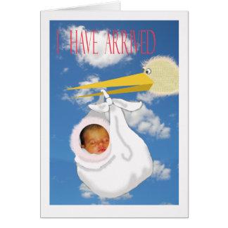 Baby arrival announcement, custom card, stork flyi card