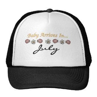 Baby Arrives in July Trucker Hats