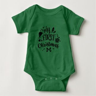 Baby Babies My First 1st Christmas Holiday Baby Bodysuit