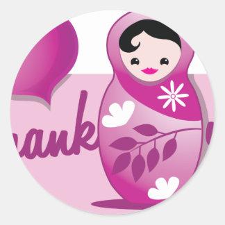 baby babushka thank you round sticker