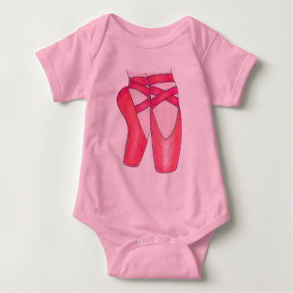 Baby Ballerina Pink Ballet Dance Pointe Shoes Gift Baby Bodysuit