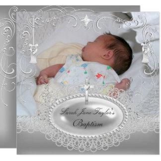 Baby Baptism Girl Boy Christening Silver Pearl Card