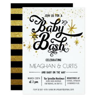 Baby Bash Invitation | Black, White & Gold
