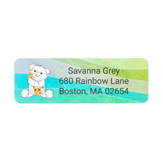 Baby Bear and Giraffe Colorful Stripes address Return Address Label