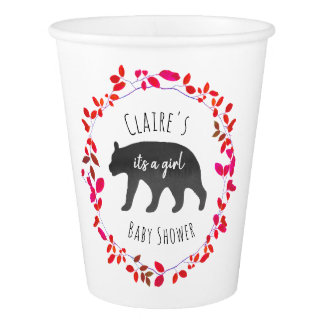 Baby Bear Cub Girly Greenery Baby Shower Cups