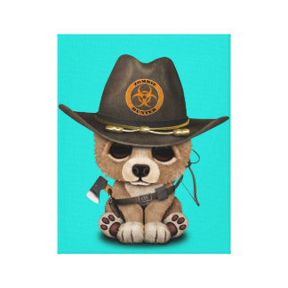 Baby Bear Cub Zombie Hunter Canvas Print