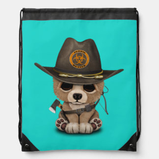 Baby Bear Cub Zombie Hunter Drawstring Bag
