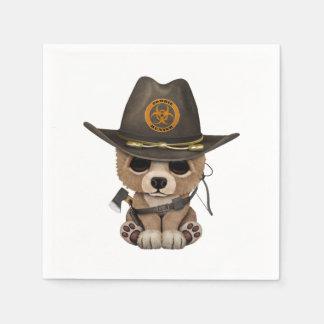 Baby Bear Cub Zombie Hunter Paper Napkin