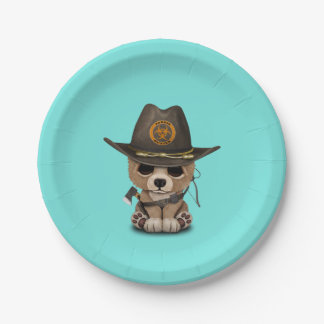Baby Bear Cub Zombie Hunter Paper Plate