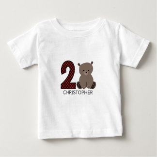 Baby Bear Plaid Second Birthday Shirt