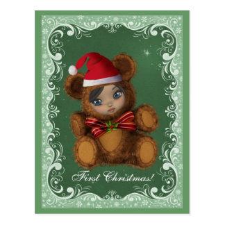 Baby Bear Santa First Christmas Postcard