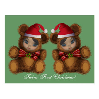 Baby Bear Santa Twins First Christmas Postcard