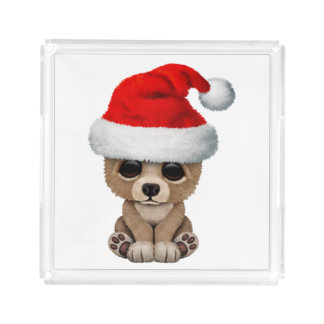 Baby Bear Wearing a Santa Hat Acrylic Tray