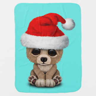 Baby Bear Wearing a Santa Hat Baby Blanket