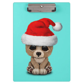 Baby Bear Wearing a Santa Hat Clipboard