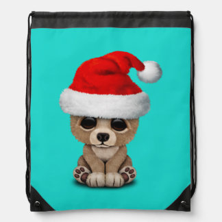 Baby Bear Wearing a Santa Hat Drawstring Bag