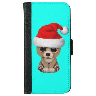 Baby Bear Wearing a Santa Hat iPhone 6 Wallet Case