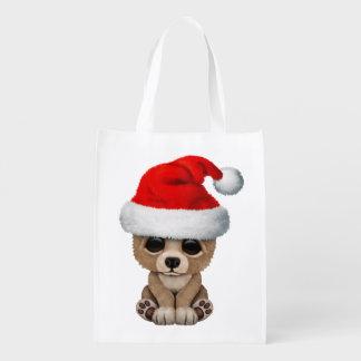 Baby Bear Wearing a Santa Hat Reusable Grocery Bag
