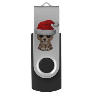Baby Bear Wearing a Santa Hat USB Flash Drive