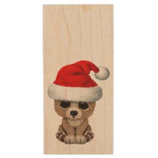 Baby Bear Wearing a Santa Hat Wood USB Flash Drive