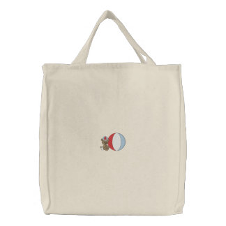 Baby Bear with Ball Embroidered Tote Bags