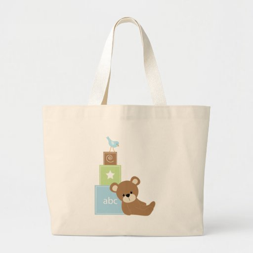 Baby Bear with Blue Toy Block Canvas Bags