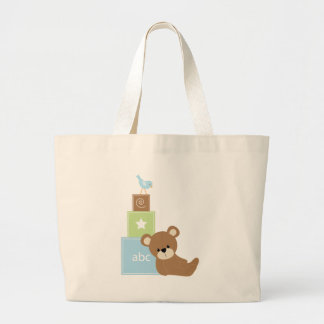 Baby Bear with Blue Toy Block Jumbo Tote Bag