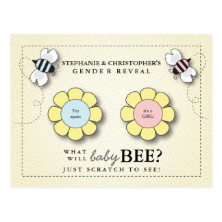 Baby Bee Gender Reveal Pretend Scratcher Game Post Postcard