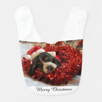 Baby Bib Merry Christmas Basset Hound puppy