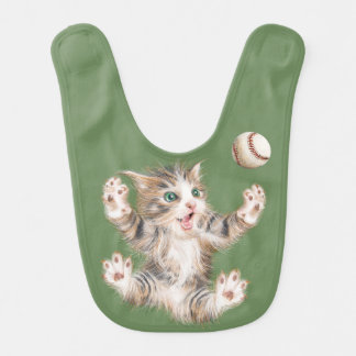 Baby Bib with Playful Kitty