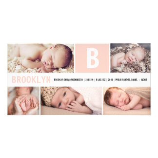 Baby Big Initial Multi Photo Birth Announcement Customised Photo Card