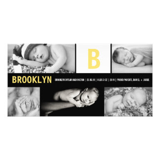 Baby Big Initial Multi Photo Birth Announcement Photo Card Template
