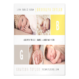 Baby Big Initial Photo Twins Birth Announcements Magnetic Invitations
