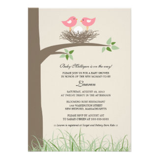 Baby Bird s Nest - Lesbian Couple Baby Shower Personalized Announcements