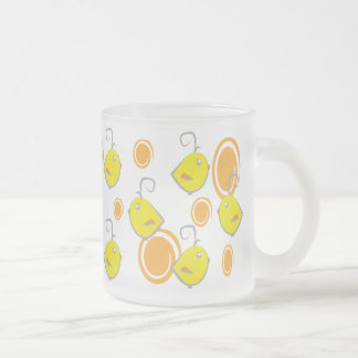 baby bird yellow pattern frosted glass mug