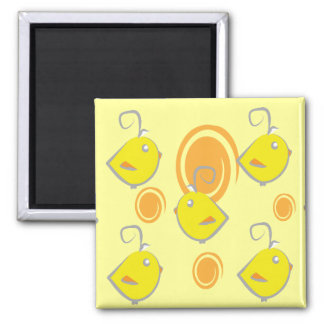baby bird yellow pattern magnet
