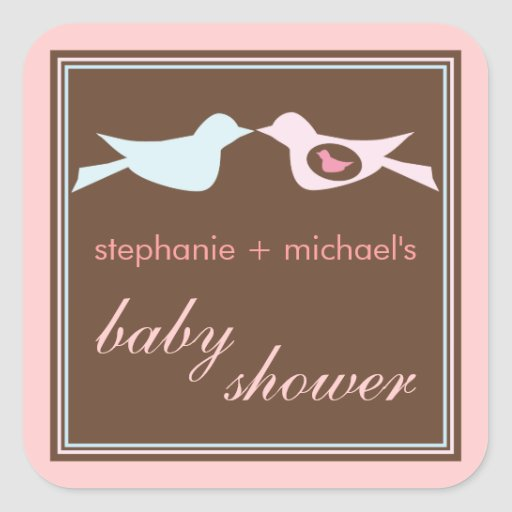 Baby Birdie Couple Girl Baby Shower Sticker