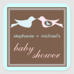 Baby Birdie Couple in Blue Baby Shower Sticker